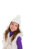 Blue eyes happy child kid girl with white winter cap Royalty Free Stock Photo