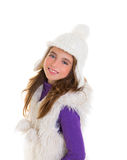 Blue eyes happy child kid girl with white winter cap Royalty Free Stock Images