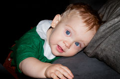 Blue eyes little baby boy portrait Stock Photo