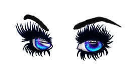 Blue eyes with long lashes Royalty Free Stock Photo