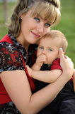 Blue Eyes, Mother and Child Stock Photos
