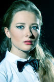 Blue eyes - pink lips Stock Photo