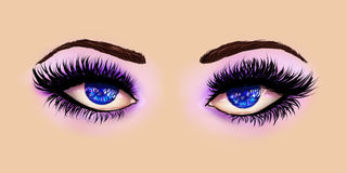Blue eyes with purple eyeshadows Stock Photo
