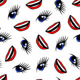 Blue eyes and red lips seamless pattern.  Stock Photo