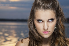 Blue eyes and sunset Stock Photo