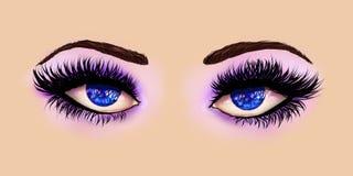 Blue Eyes With Purple Eyeshadows Stock Photo