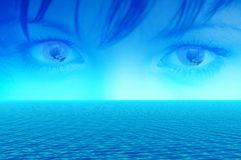 Blue eyes of world. Blue eyes with reflection of planet Earth. Landscape 3d sea, abstraction background for various design artworks in internet and business Stock Photos