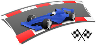 Blue F1 racing car. Racing on the circuit Royalty Free Stock Images