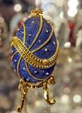 Blue Faberge egg close-up stock image