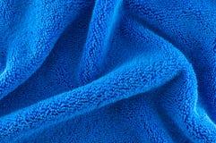 Blue Fabric. Closeup of blue microfiber Fabric texture Stock Images