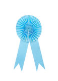 Blue fabric award ribbon isolated on white Royalty Free Stock Photography