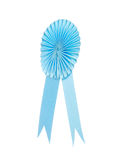 Blue fabric award ribbon isolated on white Stock Image