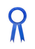 Blue fabric award ribbon isolated on white Stock Images