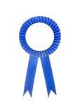 Blue fabric award ribbon isolated on white. Background Stock Images