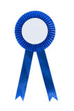 Blue fabric award ribbon. Isolated on white background Stock Photo