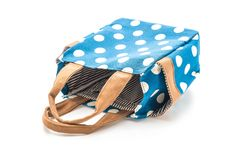blue fabric bag with white polkadot Stock Photography