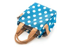 blue fabric bag with white polkadot Stock Images