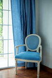 Blue fabric chair Stock Photography