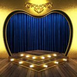Blue fabric curtain with gold Royalty Free Stock Photos