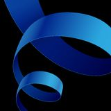 Blue fabric curved ribbon on black background Royalty Free Stock Photos