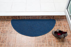 Blue fabric doormat. For cleaning feet Stock Image