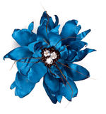 Blue fabric flower with crystals Stock Photo