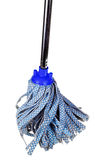 Blue fabric mop isolated on white Royalty Free Stock Photos