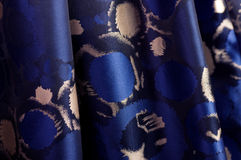 Blue fabric with ornament Stock Photo