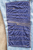 Blue Fabric Patchwork Denim. Stock Photos