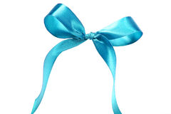 Blue fabric ribbon and bow on white background Royalty Free Stock Image