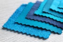 Blue fabric samples, closeup. Blue fabric samples, close up Stock Images