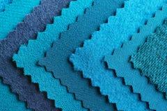 Blue fabric samples, closeup. Blue fabric samples, close up Stock Image