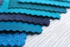 Blue fabric samples, closeup. Blue fabric samples, close up Stock Photos