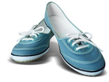 Blue fabric shoes on white background Royalty Free Stock Photo