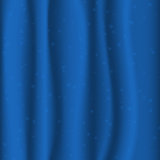 Blue fabric with stars. Curtain concept Royalty Free Stock Photography
