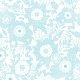 Blue fabric texture garden silhouettes seamless Royalty Free Stock Image