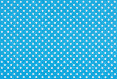Blue fabric with white polka dots Stock Photo