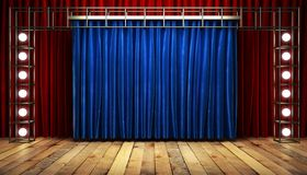 Blue fabrick curtain on stage Stock Images