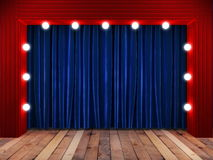 Blue fabrick curtain on stage Royalty Free Stock Images