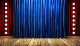 Blue fabrick curtain on stage royalty free stock image