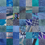 BLUE fabrics & other materials patchwork - 49 pictures Royalty Free Stock Image