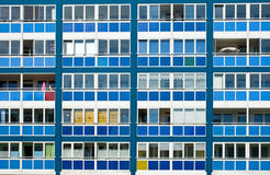 Blue facade of an GDR apartment building Stock Photography