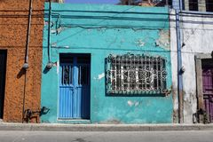 Blue facade. Blue house at somewhere of Mexico Royalty Free Stock Images