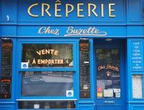 Blue facade of a pancake house. PARIS, FRANCE - JULY 10, 2018: Local landmark pancake house `Chez Suzette` on Boulevard Poissonnière, on July 10, 2018 in stock image