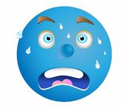 Blue face. Shock blue face with many drops perspire Royalty Free Stock Photos
