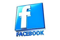 Blue Facebook 3D. Blue Facebook 3d white background royalty free illustration
