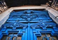 Blue faces in the door, Odessa Stock Image