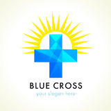 Blue facet cross and sun. Blue facet stained-glass plus cross and sun. Vector logo design. Branding identity for healthcare organizations, charitable missions stock illustration