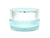 Blue Facial cream jar. Beauty concept Stock Photo