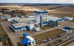 Blue factory top view. Factory aerial survey royalty free stock photo